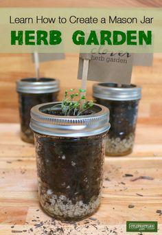 How to Create a Mason Jar Herb Garden (Gardening, DIY Projects, Crafts, Kids)