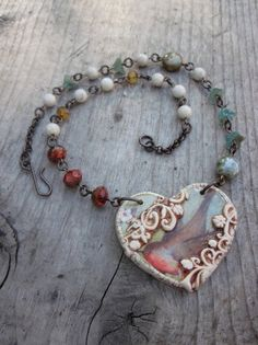Necklace Robin Heart in Polymer Clay Necklace by skyejewels, $42.00