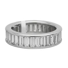 Trendy Diamond Rings :    Baguette-Cut Diamond Platinum Eternity Band Ring | From a unique collection of vintage band-rings at www.1stdibs.com/…  - #Rings https://youfashion.net/wedding/rings/diamond-rings-baguette-cut-diamond-platinum-eternity-band-ring-from-a-unique-collection-of-v/