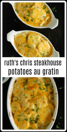 Ruth's Chris Potatoes au Gratin Copycat has got to be the creamiest, dreamiest, .- Ruth's Chris Potatoes au Gratin Copycat has got to be the creamiest, dreamiest, cheesiest potatoes ever – and they're easy to make! They are truly just to die for! Potato Sides, Potato Side Dishes, Side Dishes For Steak, Russet Potato Recipes, One Potato Recipe, Recipes For Potatoes, Best Potato Recipes, Vegetable Dishes, Salads