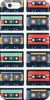 Cassette Tapes Pattern iPhone Cases & Skins by AnMGoug on Redbubble. #iPhone #retro #cassette
