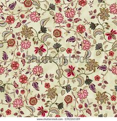 Seamless Background, Textures Patterns, Floral, Ethnic, Royalty Free Stock Photos, Graphic Design, Flowers, Cream, Illustrations