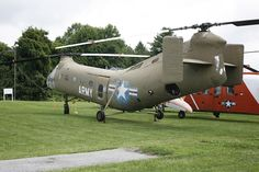 Piasecki CH-21C Shawnee at the American Helicopter Museum, showing its nickname of Flying Banana  — Joseph May. Paisecki CH-21 Shawnee, with Sikorsky H-34 Choctaw, led the way in US Army Aviation to modern helicopter tactics regarding envelopment from above as well as gunships.Shawnee was latest in tandem twin rotor design by Piasecki which would be absorbed by Boeing into Boeing Vertol – evolution leading to the CH-43 Sea Knight and CH-47 Chinook.