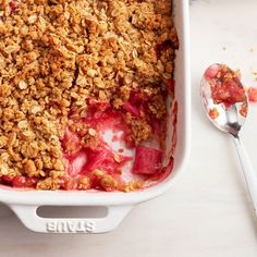 A golden crunch on top, and sweet-tart rhubarb perfection on the bottom. Serve with vanilla ice cream. Get our rhubarb crisp and more at Chatelaine.com