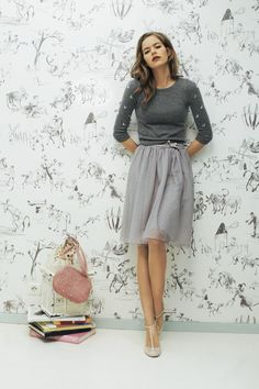 gray sweater and tulle skirt