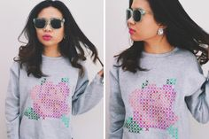 Use fabric paint to DIY this faux cross stitch sweatshirt.