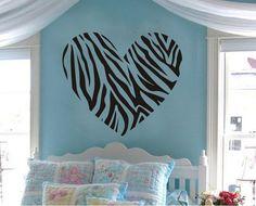 Sweet Heart Removable Wall Art Decal Sticker Decor Mural DIY Vinyl Décor Room Home (Zebra Stripe Heart)