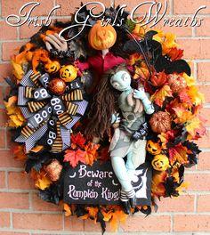 Nightmare Before Christmas Jack Skellington + Sally Halloween Wreath