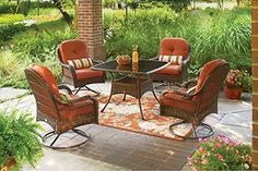 Gift Card so we can afford a patio set similar to this. Better Homes and Gardens Azalea Ridge Patio Dining Set, Seats 4 Swivel Dining Chairs, Deck Chairs, Patio Dining, Dining Set, Patio Seating, Dining Room, Dining Table, Patio Furniture Sets, Garden Furniture