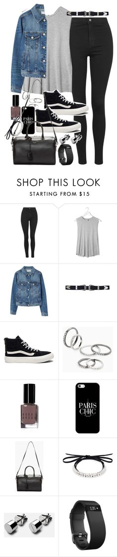 """Outfit with black jeans and denim for autumn"" by ferned ❤ liked on Polyvore featuring Topshop, Boutique, MANGO, Vans, Bobbi Brown Cosmetics, Casetify, Yves Saint Laurent, Fallon and Fitbit"