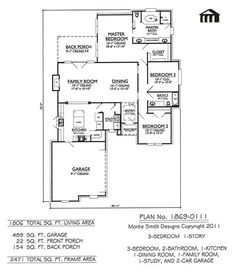Image Result For Ranch House Plans Without Dining Room 3 Room House Plan, Building  Plans