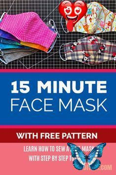 15-Minute Fabric Mask With A Free Pattern Easy DIY Face Mask - Free Pattern for Making Homemade Face Masks from Fabric - Step by Step Sewing Instructions<br> I was so happy when I found this face mask video tutorial by Owl Be Sewing on Youtube because it has a free printable pattern. Most masks available on today's market are usually made from paper, however, the surgical masks in the Sixties and early Seventies were made of cloth and laundered at high temperatures. So if you are using a… Homemade Face Masks, Diy Face Mask, Learn To Sew, How To Make, Today's Market, On Today, Free Printables, Free Pattern, Easy Diy