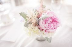 Pink peony pastel centerpieces in mercury glass vases!