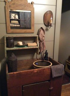 primitive bathroom with early dry sink. Primitive Country Bathrooms, Primitive Bathroom Decor, Primitive Bedroom, Primitive Homes, Prim Decor, Primitive Kitchen, Primitive Furniture, Primitive Antiques, Country Primitive