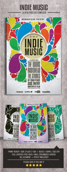 Indie Music Flyer/Poser #GraphicRiver This flyer was designed to promote an Indie/ Jazz/ Band/ Rock/ Blues/ grunge/ SKA/ Happy Rock/ music event, such as a gig, concert, festival, dj set, party or weekly event in a music club and other kind of special evenings. Features 1 Psd File Print Ready 21×29.7cm with bleed 300 dpi / CMYK Simple to Customize Well Organized Layers Font Six Caps Kenyan Coffee Created: 29April13 GraphicsFilesIncluded: PhotoshopPSD Layered: Yes MinimumAdobeCSVersion: CS4…