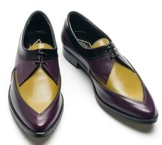 Adieu Paris's Oh so modern calf Derbys in purple, mustard, and a touch of black. Not easy to find, but well worth the search at around 240 Euro.