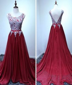 Custom Handmade Burgundy Long Chiffon Prom Dress with Lace Appliques, Wine Red Prom Gowns 2017, Party Dresses