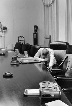 U.S. President Lyndon Johnson listens to tape sent by Captain Charles Robb from Vietnam, 1968 by Jack E. Kightlinger.