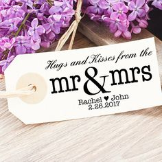 Hugs and Kisses From The Mr and Mrs Wedding Stamp  by SouthernPaperAndInk on etsy.