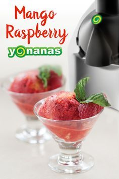 """No Bananas Required in this fruit """"ice cream""""! Mango & Raspberry create a naturally sweet & satisfying sorbet!"""