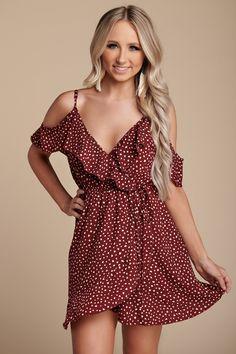 837b1e5840f Summer Fling Cold Shoulder Dress (Wine)