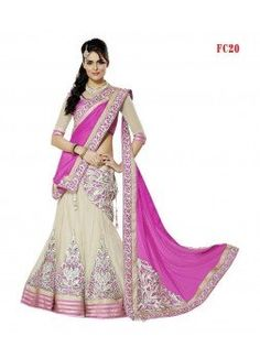 Bollywood Designer Pink and Cream  Lehenga Choli