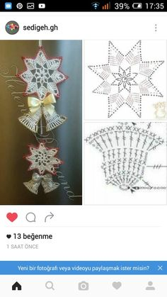 Ela Klementowicz's 860 Media Content An - Diy Crafts - Qoster Crochet Snowflake Pattern, Christmas Crochet Patterns, Holiday Crochet, Crochet Snowflakes, Crochet Doilies, Crochet Flowers, Crochet Christmas Decorations, Quilling Christmas, Crochet Ornaments