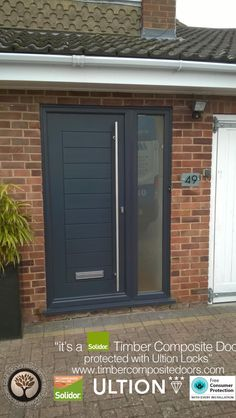 Solidor Timber Composite Doors with Ultion Locks Solidor Timber Composite Doors 12 Months Interest Free Credit Real Pictures, Real Homes, Real Doors, Real Solidor a small selection of fitted Solidor Timber Composite Doors installed and fitted by ourselves Grey Composite Front Door, Front Door Porch, Black Front Doors, Exterior Front Doors, House Front Door, House Doors, Garage Doors, Modern Entrance Door, Modern Front Door