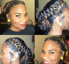 Beautiful Protective Hairstyle for African American Woman: 16 Ideas – summer hair styles My Hairstyle, Braided Hairstyles, Cool Hairstyles, Black Hairstyles, Hairstyle Ideas, Braided Mohawk, Hairstyles 2018, Wedding Hairstyles, Black French Braid Hairstyles
