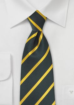 Dark Charcoal and Gold Striped Tie in XL Size