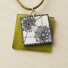 Shrinking plastic handpainted necklace | Flickr - Photo Sharing! -- pretty layering.