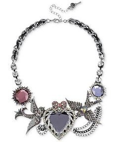 Betsey Johnson Necklace, Antique Silver-Tone Crystal Heart and Bird Frontal Necklace