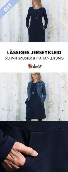 Simple sweat dress for sewing yourself - sewing instructions and sewing pattern via . Simple sweat dress for sewing yourself - sewing instructions and pattern via Makerist.de Knitting , lace processing is p.