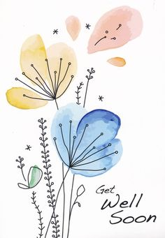 Watercolor Flowers Discover Simple Wishes (NIV) Box of 12 Get Well Cards Simple Flower Drawing, Easy Flower Drawings, Flower Art, Art Flowers, Simple Flowers, Simple Flower Painting, Simple Cute Drawings, Simple Watercolor Flowers, Drawing Flowers