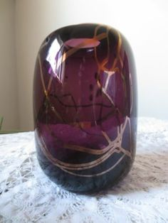 Artist Signed Art Glass Vase C 1978 Hawaii Purple Hand Blown | eBay