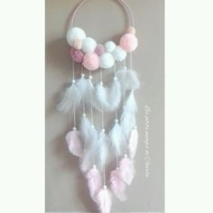 DIY dream catcher w/yarn pom poms Diy And Crafts, Crafts For Kids, Arts And Crafts, Easy Crafts, Diy Y Manualidades, Pom Pom Crafts, Diy Baby, Diy Room Decor, Wall Decor