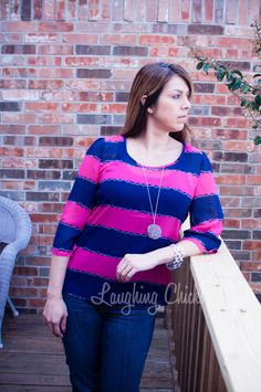 Fuchsia & Navy Stripe Top – Laughing Chicks