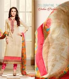 Buy Beige and Pink embroidered cotton semi stitched salwar with dupatta collar-neck-design online