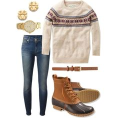 Not exactly sure about the boots, but still cute!  Bean Boots & Fair Isle…