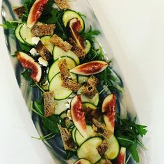 Shaved zucchini fig goats cheese & walnut croutons. #sexysalads #healthyeats #entertainingwithfigmint #shareplates #figmintcatering #figmintontheharbour #yachtcateringsydney #sydneycaterer