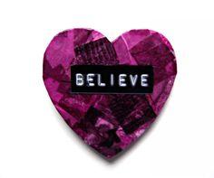 Believe Magnet / Heart / Purple / Decoupage / by TopFloorTreasures