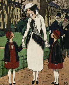 Women's suit and children's dresses by Jeanne Lanvin