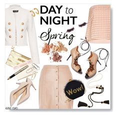 """""""Spring: Day to Night"""" by heather-reaves ❤ liked on Polyvore featuring River Island, Balmain, Jennifer Fisher, TIBI, Malone Souliers, Lanvin, Edie Parker, Kate Spade, Fountain and shu uemura"""