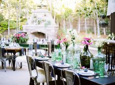 Tina + Brian's stylish backyard vow renewal is up on Green Wedding Shoes! Braedon Flynn captured their magical day, including details from the four different tablescapes set for five courses. // Casa de Perrin