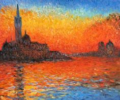 Monets color scheme is firey strong in this depiction of Venice at sunset.
