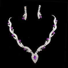 Bridal Wedding Bridesmaid Purple Crystal Silver Clear Necklace Jewelry sets 0338