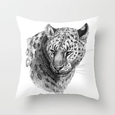 Leopard SK0101 Throw Pillow by S-Schukina - $20.00