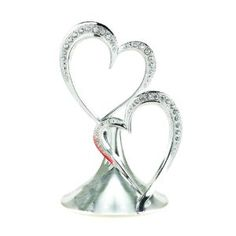 Sparkling Love Double Heart Silver-Plated Cake Top, 5-1/2-Inch Tall