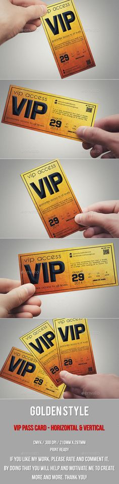 Golden style vip pass card  #template #cards #print #invites