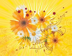 FLOWERS / Free vector Vector flower Vector Flower Abstract Yellow Background